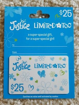 $25 Justice Limited Too Gift Card