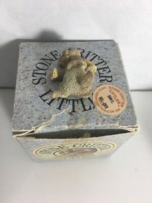 1990 Stone Critter Littles Mouse With Cheese Figurine United Design