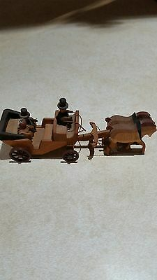 """Wood Carved Horse Drawn Wedding Carriage """"East Germany"""""""