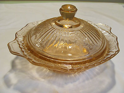 Vintage  Pink Depression Glass Round Covered Butter Dish