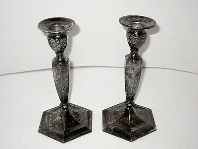 """2-Matching Vintage Forbes S.P. # 807 8"""" Silver-plate Candle Holders/Very Nice !"""