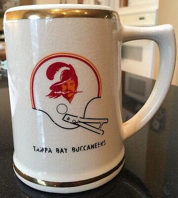 Tampa Bay Buccaneers NFL Original 1976 Double Bar Helmet Logo Ceramic Mug Stein