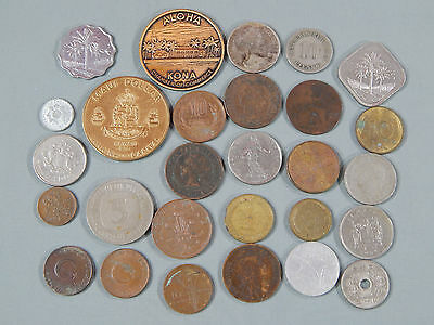 28 PC Foreign World Coin Mixed Lot Estate Find Several Countries
