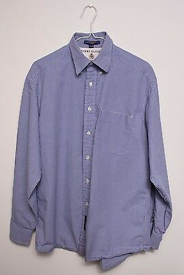 Tommy Hilfiger Dress Shirt Men's Blue White Checkered Long Sleeve Size 15 1/2 34