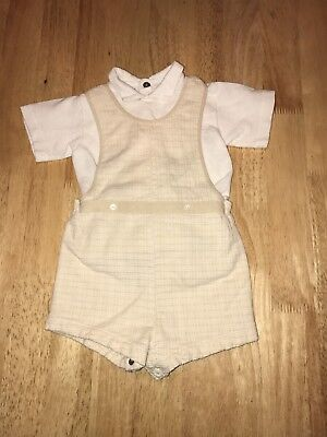 Vtg Prince George Style Baby Toddler Shortalls Romper Overalls w/ Shirt Sz 1 1/2