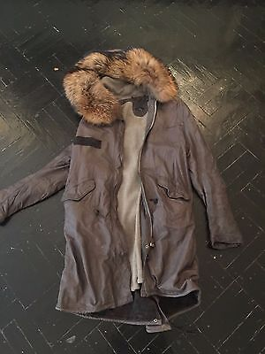 SISII leather fishtail parka Coat Beautiful Size Small Gray Fur Trim Women