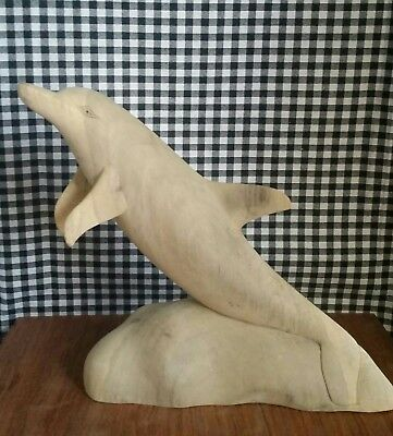 Dolphin Jumping Statue, Large Hibiscus Wood Carving, Marine Sea Ocean Decor