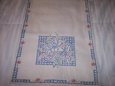 White Cotton Runner Cross Stitched Flowers