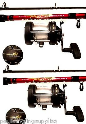 2 x Shakespeare Firebird Boat Fishing Sea Rods Multiplier Boat RH Reels 12-20lb