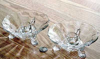 2x HEISEY crystal clear glass QUEEN ANNE dolphin foot CANDLE HOLDERS #1509