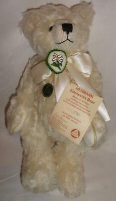 """Hermann Edelweiss Ivory 15"""" Mohair Jointed Musical Teddy Bear NEW W Tags"""