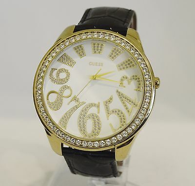 Guess Vintage Women's Large Face Gold Tone Watch With Black Band