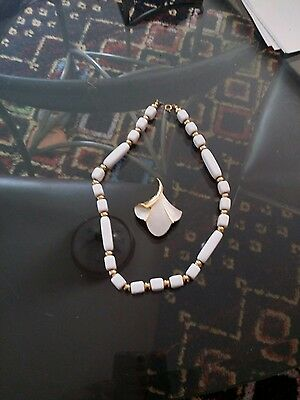 Two vintage white Trifari signed pieces necklace and Ginko leaf pin
