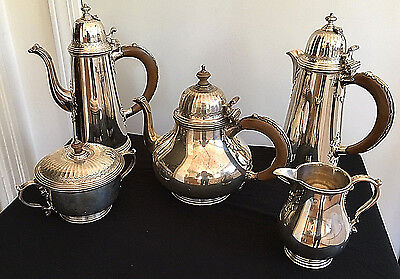 Vintage Wilson & Gill 5 pc Sterling Silver Tea Coffee Chocolate Set - rare