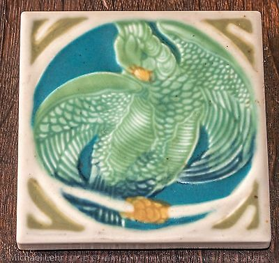 Rookwood Pottery Tile Trivet with Parrot 1925