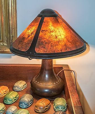 Signed Dirk Van Erp Hand Hammered Copper Lamp