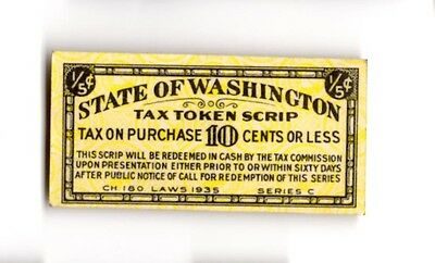 Vintage State of Washington Tax Token Scrip (Tax Purchase 10 Cents or Less) 1/5