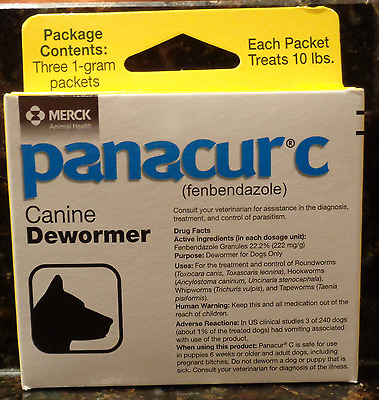 Panacur C Canine Dewormer Dogs 1 Gram Each Packet Treats 10 lbs (3 Pkts) 12/19