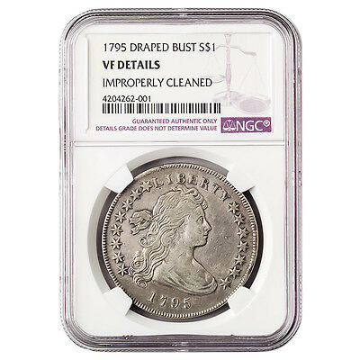 Certified Draped Bust Dollar 1795 VF Details NGC (Improperly Cleaned)