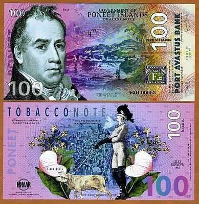 Poneet Islands, 100 Kasutu, 2017, POLYMER, Limited Private Issue, UNC