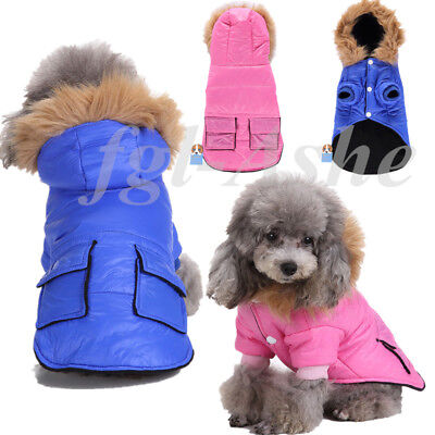 Small Pet Dog Cat Hoodie Winter Soft Warm Windproof Coat Jacket Clothes Apparel