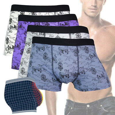 Men Underwear Boxers Brief	Cotton Blend Shorts Skull Male Comfortable Underpants