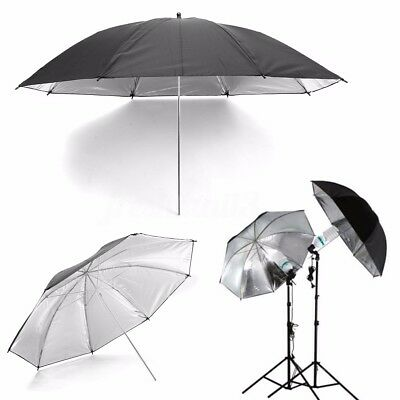 43'' 110cm Black & Silver Photo Studio Flash Light Umbrella Softbox Reflector