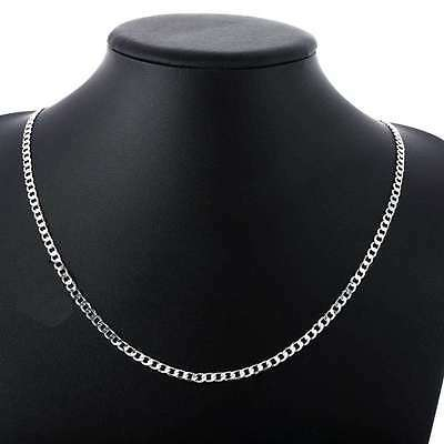 Fashion 925 Sterling Solid Silver 4MM Chain Men Women Jewelry Necklace 16-30Inch