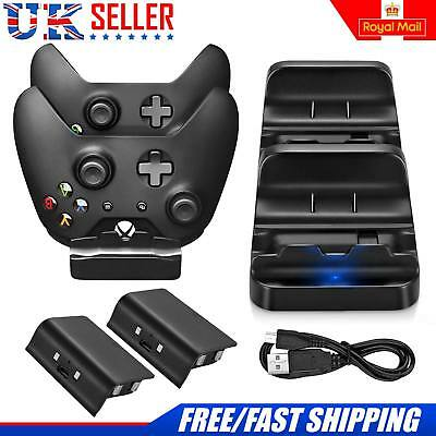 For Xbox One Wireless Controller Dual Charging Dock with 2 Battery Pack Black UK