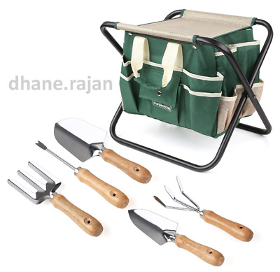 7pcs Steel Tools Set Home Garden Folding Storage Stool Garden Tools Bag UK New