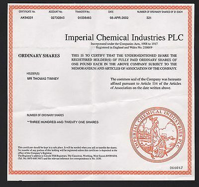 ICI IMPERIAL CHEMICAL INDUSTRIES  2002 321 Shares certificate - Common Stock