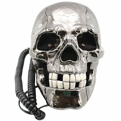 Telefono Calavera de Cable con Ojos LED Intermitentes Gore Decoracion Negocio