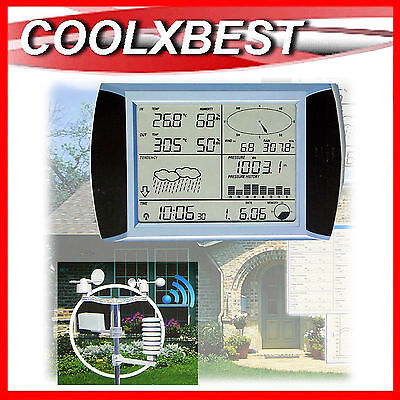 WIRELESS TOUCH SCREEN WEATHER STATION CENTRE w PC LINK HOBBY FARM HOME PORTABLE