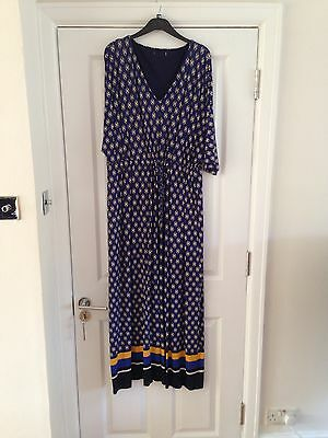 Marks and Spencer Blue Yellow Evening Party Holiday Shift Maxi Dress UK Size 18