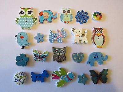 """20  """" Lots of Blue """"  WOODEN Novelty Buttons..New...1.5cm up to 3.4cm..Lot 2"""