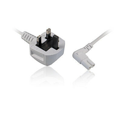 3M Right Angle C7 Figure 8 Power Cable Mains Lead to UK Plug for PS4, Sky