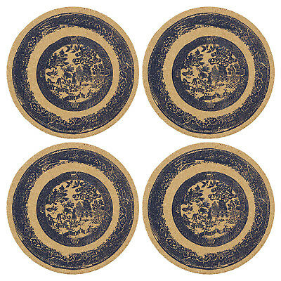 Temerity Jones Set of 4 Thick Round Cork Willow Printed Placemats Table Mats