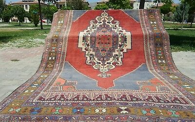 """Beautiful Antique Cr1930-1939s Wool Pile 5'4×9'2"""" Muted Dyes Oushak  Rug"""