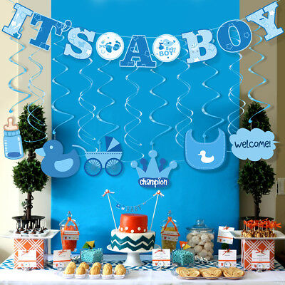 30pcs ITS A BOY Banner Boy Baby Shower Foil Party Decoration Bunting Garland