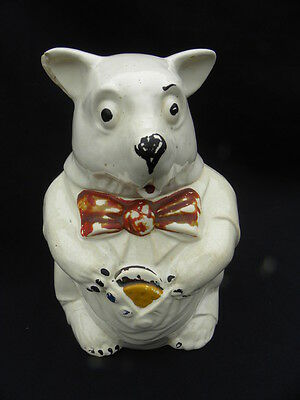 "Vintage McCoy ""No Cookies"" White Bear with Red Bow Cookie Jar"