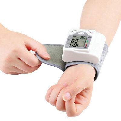 LCD Digital Wrist Blood Pressure Monitor Heart Beat Meter With Battery Accurate