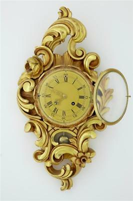 20Th Century Swedish Gilt Carved Wood Wall Clock By Westerstrand