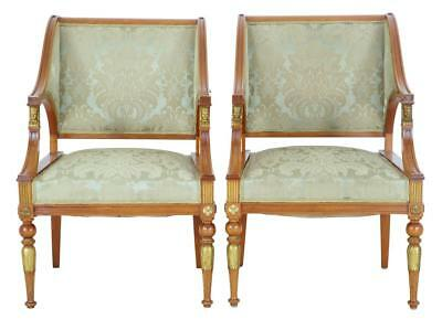 Pair Of 19Th Century Empire Revival Walnut Armchairs