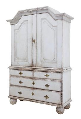 19Th Century Large Swedish Painted Cabinet On Chest