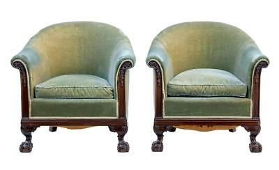 Pair Of Early 20Th Century Carved Mahogany Tub Armchairs