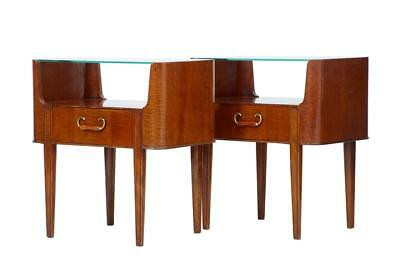 PAIR OF 1960's MAHOGANY GLASS TOP BEDSIDE TABLES