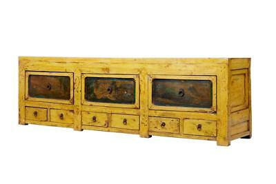 19Th Century Chinese Yellow Lacquered Low Sideboard