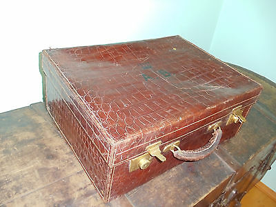 MAPPIN & WEBB Antique GENUINE ALLIGATOR VANITY CASE A.B. Crown