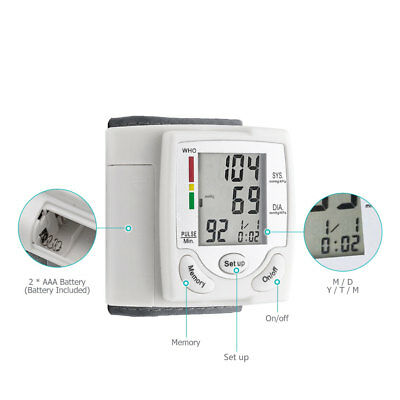 LCD Digital Wrist Blood Pressure Monitor Heart Beat Meter Home Family Practical