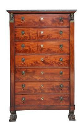 19Th Century French Mahogany Semainier Tall Chest